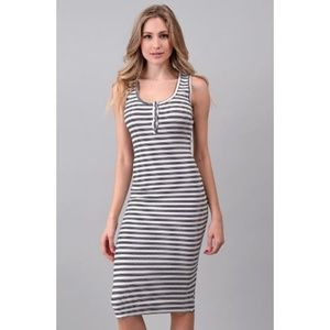 "'All The Right Moves"" Striped Button Midi Dress"